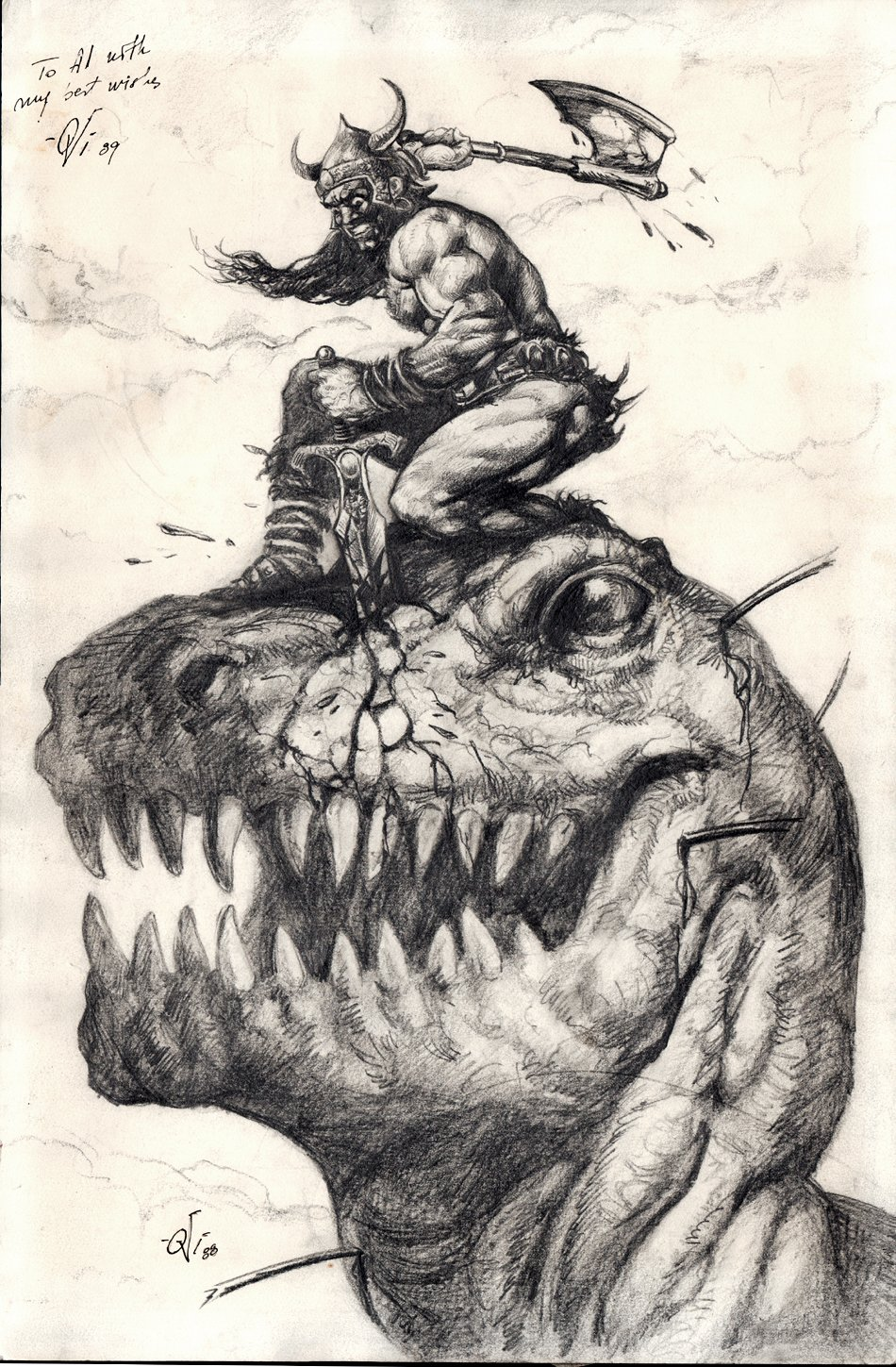 Savage Sword of Conan Large Pinup For Cover / Splash (1988)