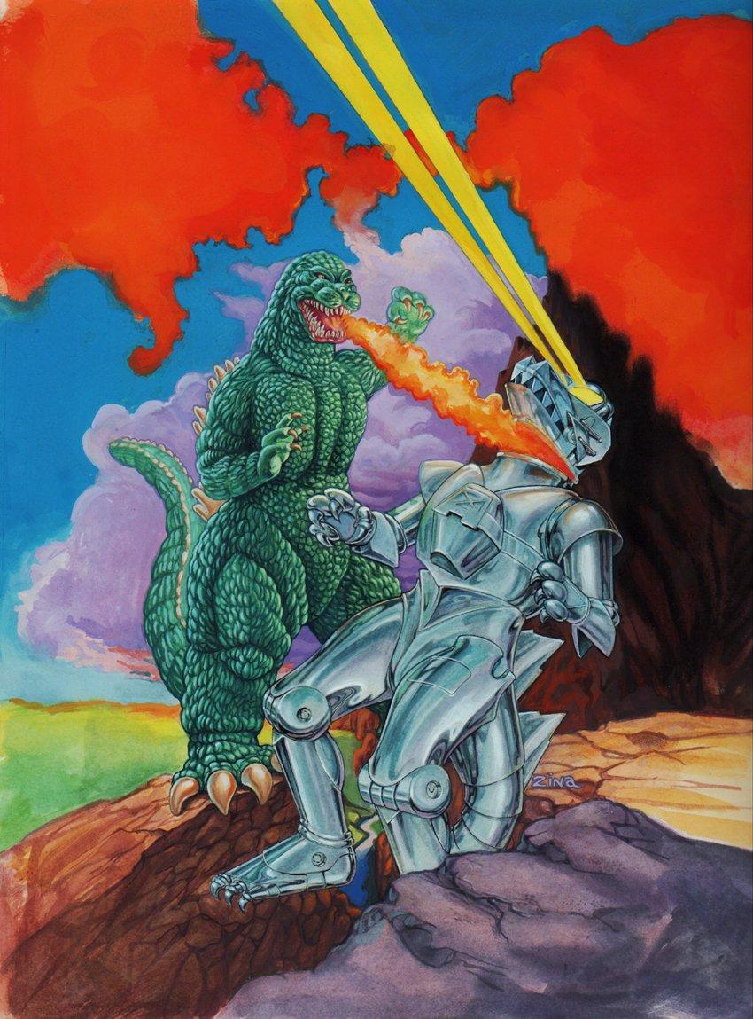 Godzilla Vs. Cosmic Monster VHS Box Painting (1993)