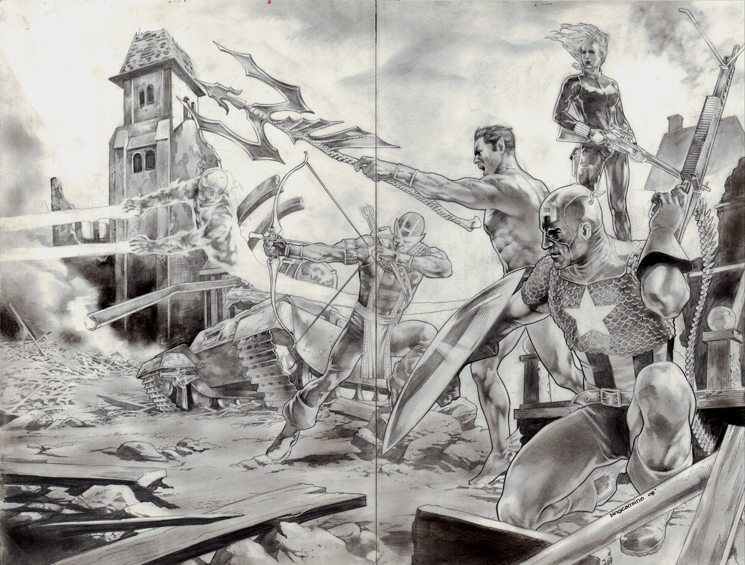 Avengers / Invaders Double Spread Splash Pinup (2008)