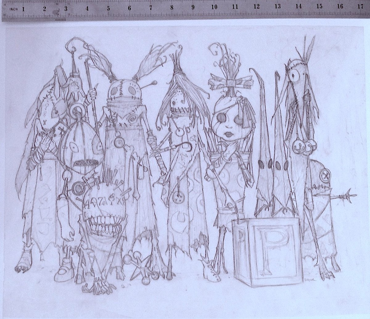 'Underbed Stickmen' Final Pencil Study for Painting (2005)
