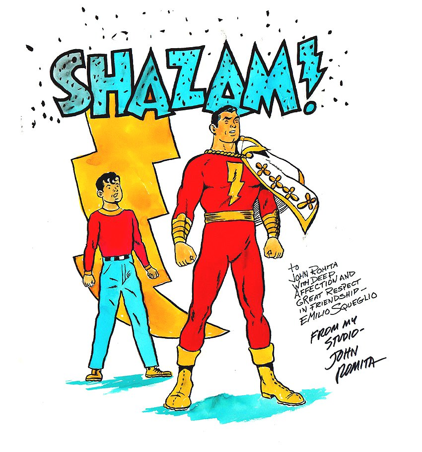 LARGE SHAZAM / BILLY BATSON Color Pinup by Golden Age Captain Marvel Artist