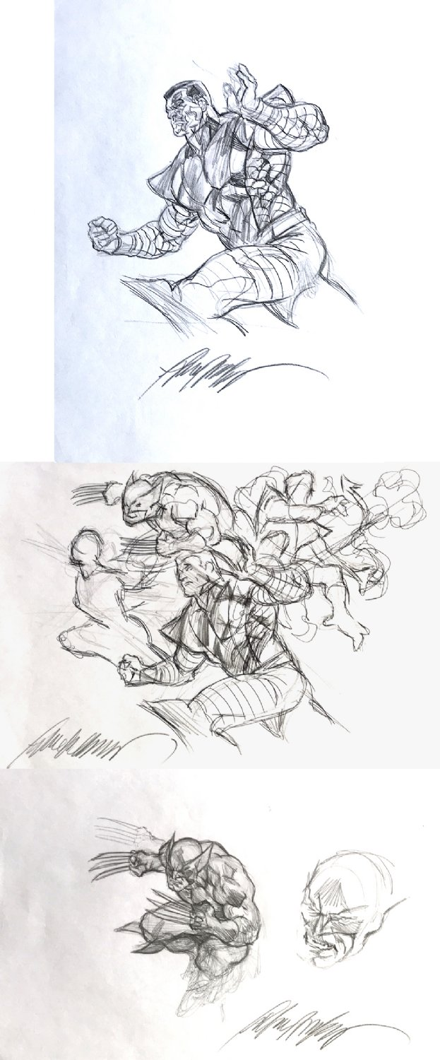 3 X-Men Signed Pencil Drawings Used For Painted Poster Art!