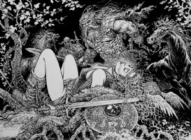 Saga Valta Double Page Spread Illustration Comic Art