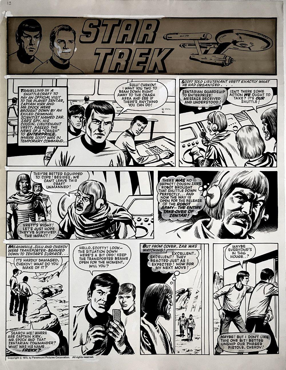 Star Trek Newspaper Strip (HUGE) 1-6-1973