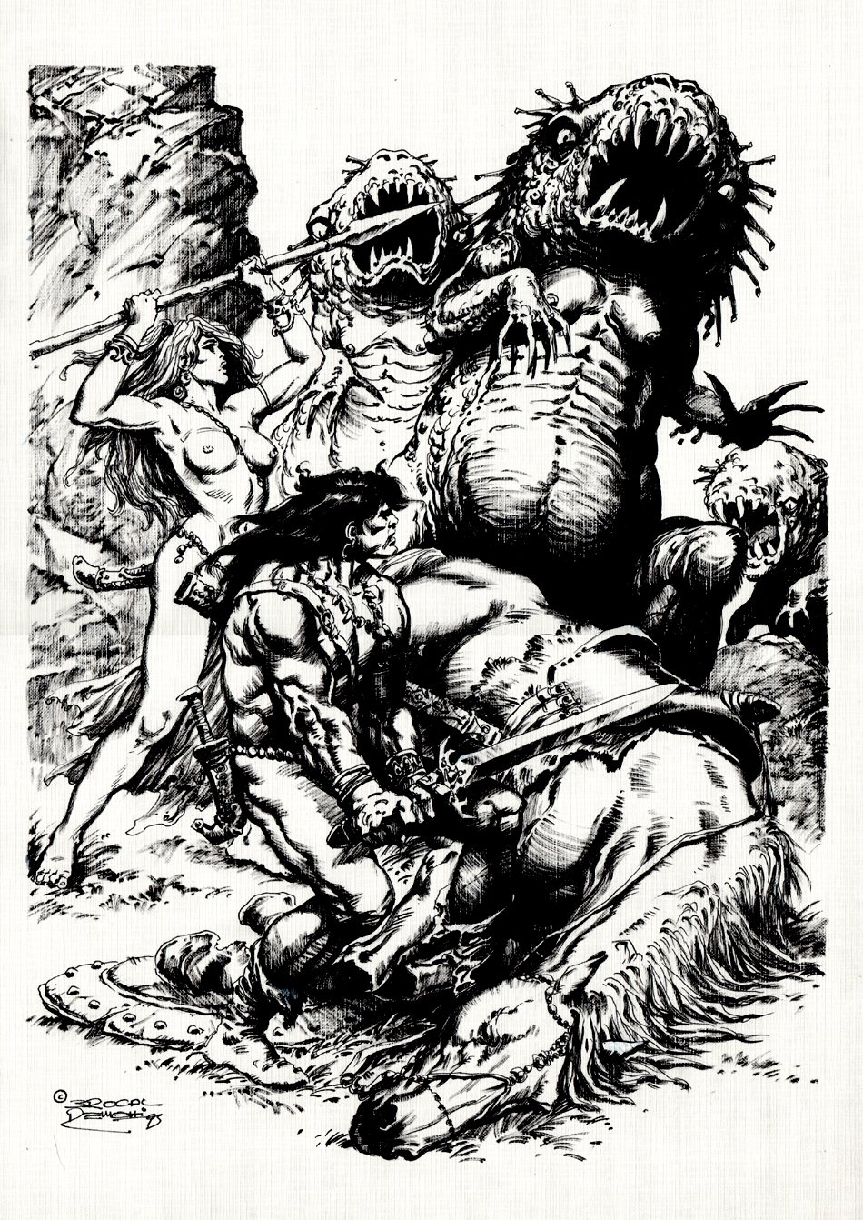 Kronan the Barbarian & Nude Babe Battle Giant Worm Monsters Pinup (Large Art) 1995