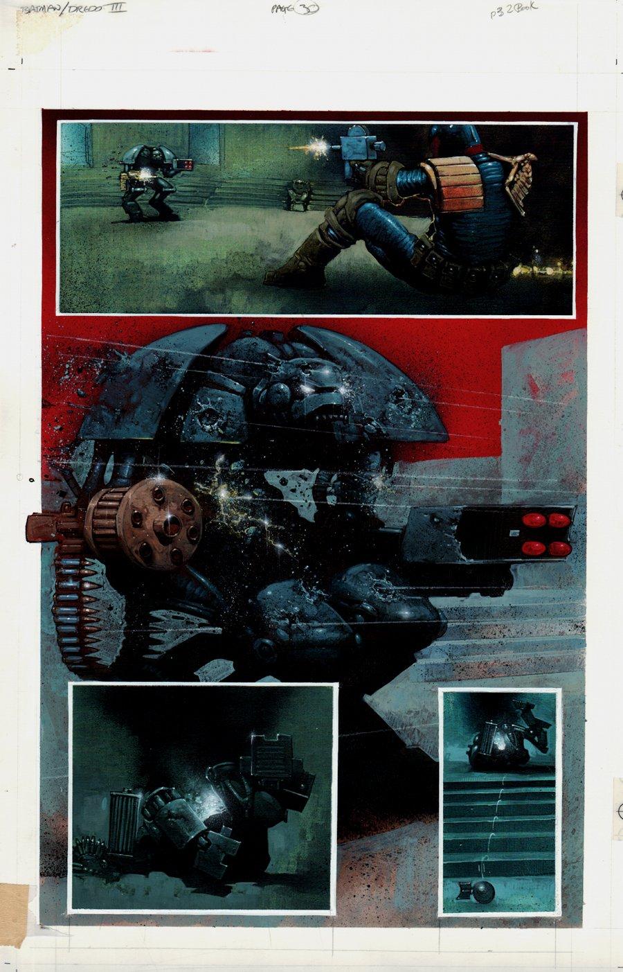 Batman / Judge Dredd: The Ultimate Riddle #1 p 30 Painted Art (1995)