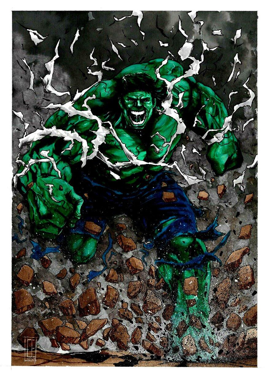 Incredible Hulk Very Detailed Mixed Media Pinup
