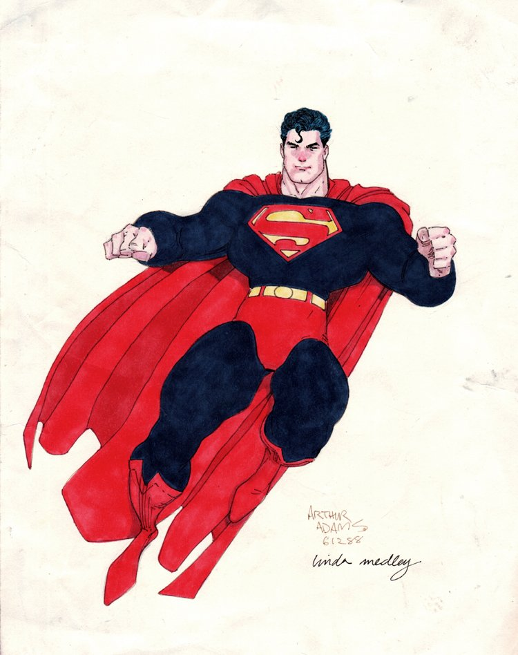 Superman Hand Colored Pinup (1988)