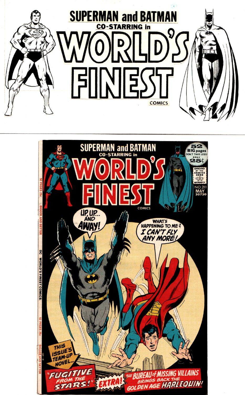 World's Finest Comics: SUPERMAN and BATMAN CORNER BOX ART FOR ISSUES 211-217 (1971)