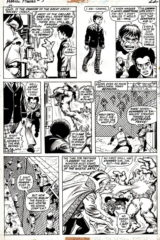 Marvel Feature #3 p 17 (BILL EVERETT INKS, PRE-DEFENDERS #1 BATTLE PG!) 1971