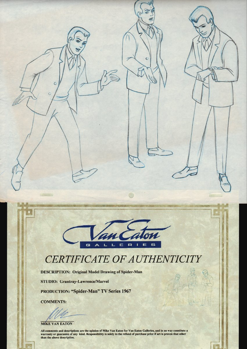 3 Peter Parker Animation Drawings From Classic 1967 Cartoon Series