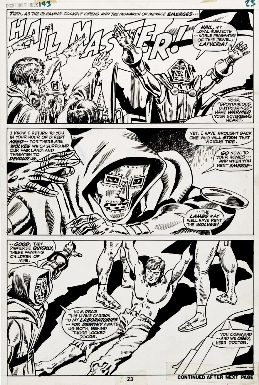 Incredible Hulk #143 p 23 (DR. DOOM IN EVERY PANEL!) 1971