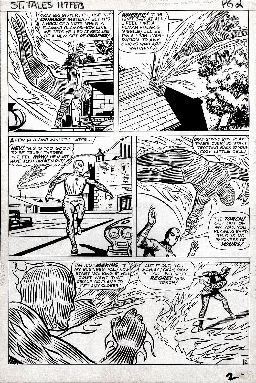 Strange Tales #117 p 2 (HUMAN TORCH BATTLES THE EEL!) Large Art 1963