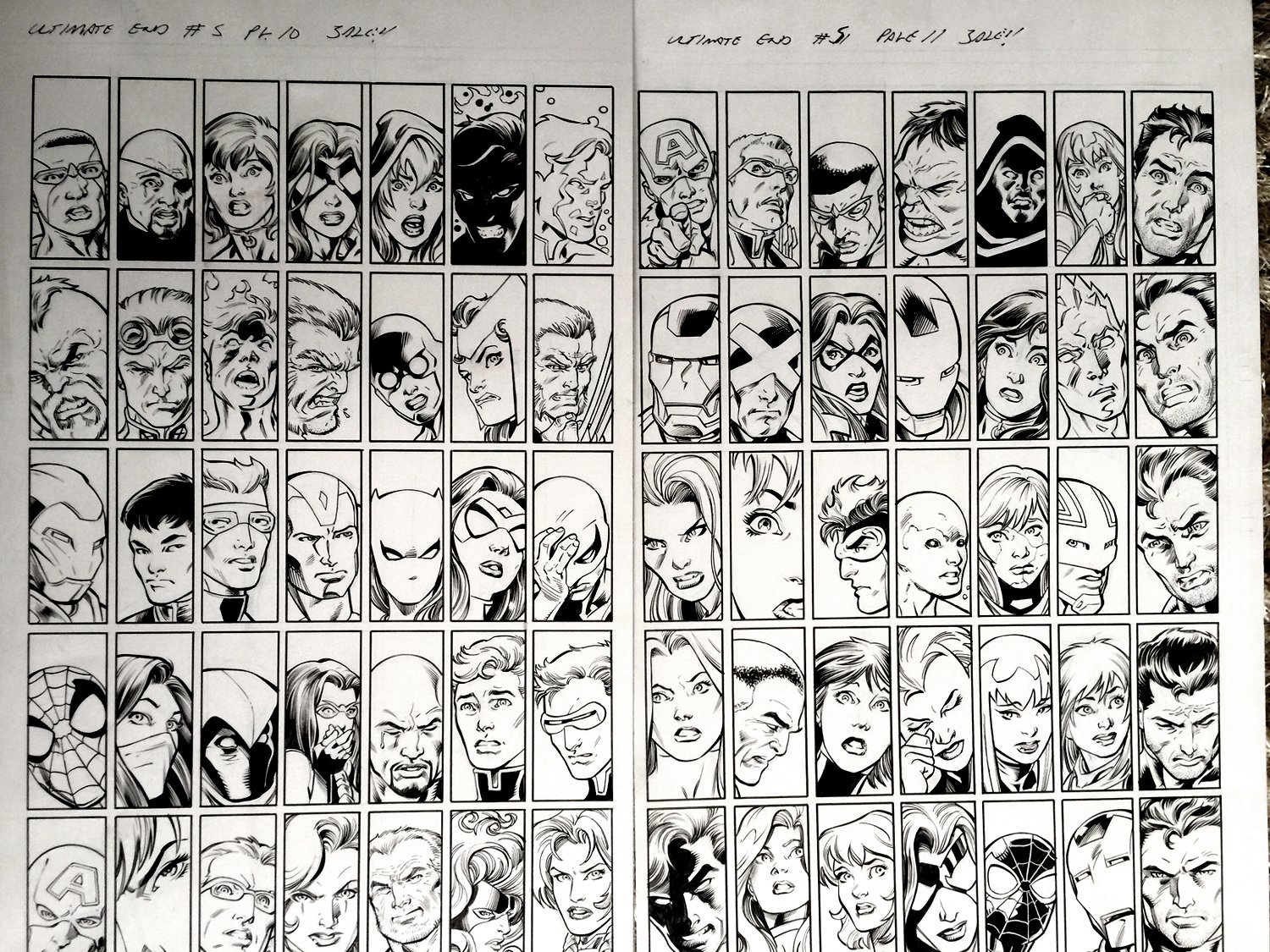 Ultimate End #5 P10-11 Double Spread (70 MARVEL HEROES DRAWN! WOW!)