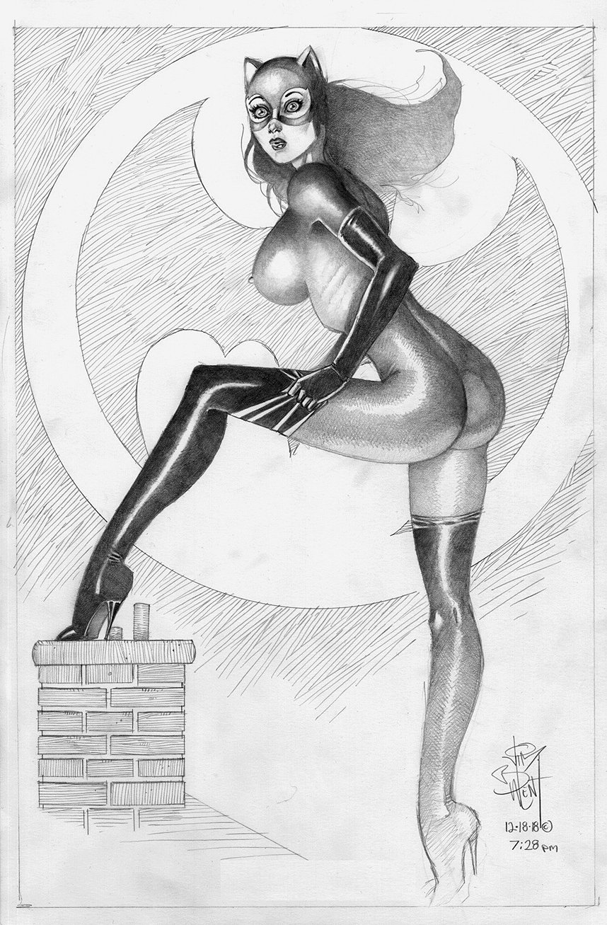 Catwoman Posing On Chimney With Bat-Signal Pinup (2018)