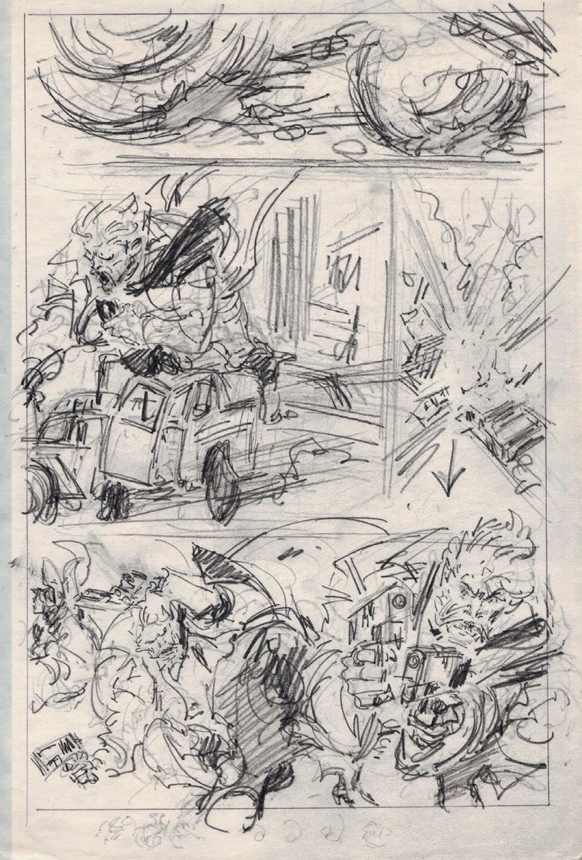 Punisher 11 by 17 Inch Pencil Prelim Page