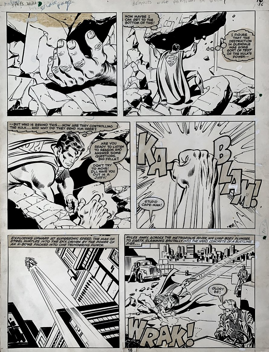 Marvel Treasury Edition #28 p 16 (SUPERMAN BATTLES INCREDIBLE HULK!) 1981