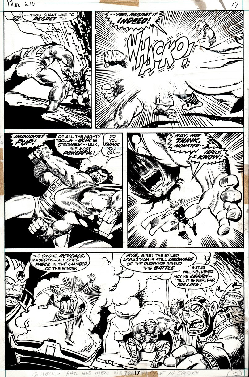 Thor #210 p 17 (THOR BATTLES ULIK IN EVERY PANEL!) 1972