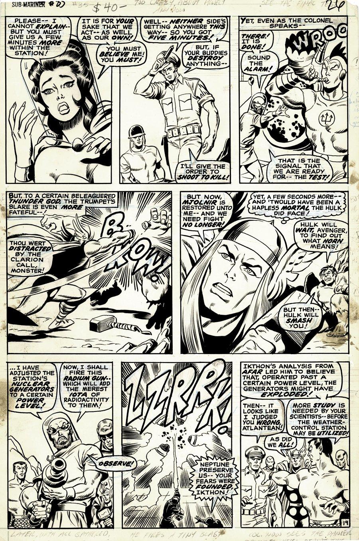 Sub-Mariner #35 p 19 (FIRST DEFENDERS STORYLINE! Hulk, Surfer, Thor, Iron Man, Subby) 1970