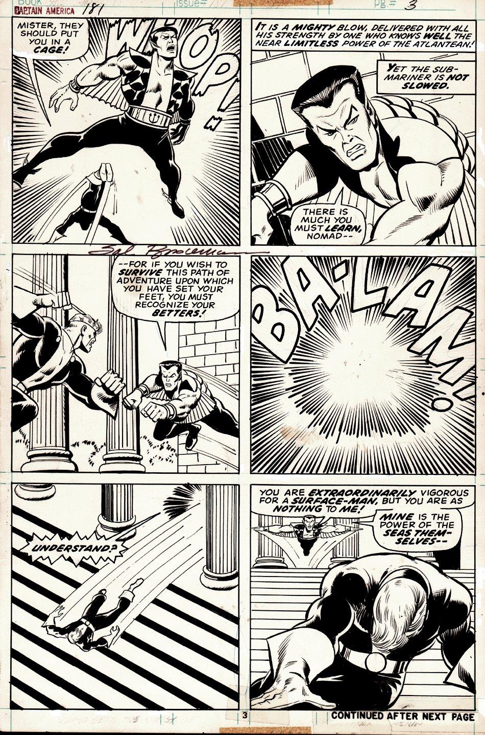 Captain America #181 p 3 (Nomad Battles Sub-Mariner) 1974