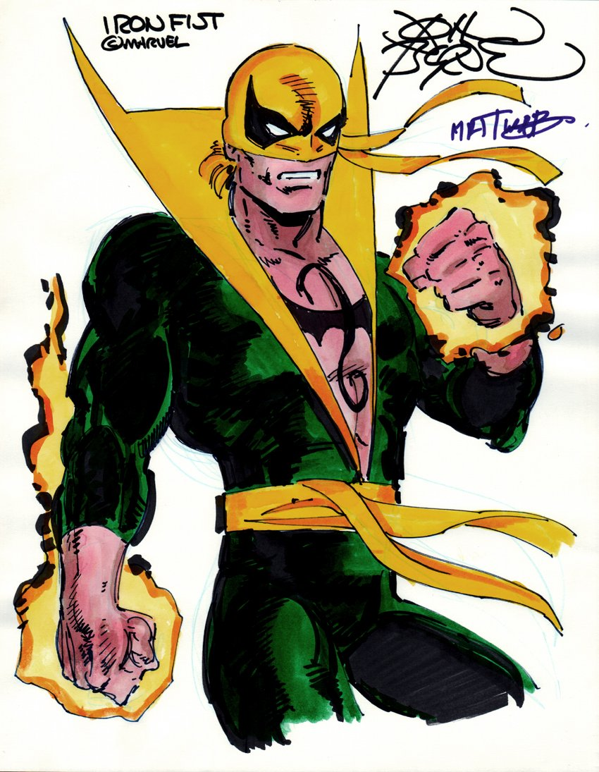 Iron Fist Penciled, Inked, Hand Colored Pinup
