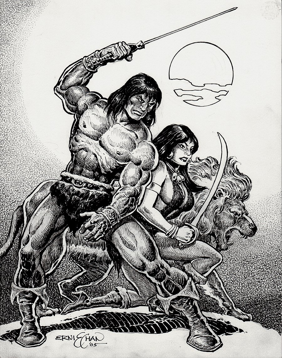 Conan / Belit / Lion Pinup (2005)