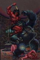 Conan Hand Colored Gorilla / Babe Battle Pinup (2007) Comic Art