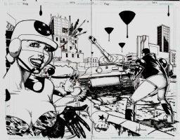 American Flagg #? p 2-3 Double Spread Splash Comic Art