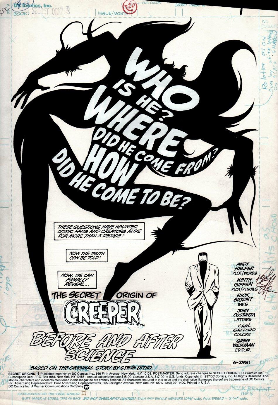 Secret Origins #18 p 1 SPLASH (THE ORIGIN OF THE CREEPER) 1987)