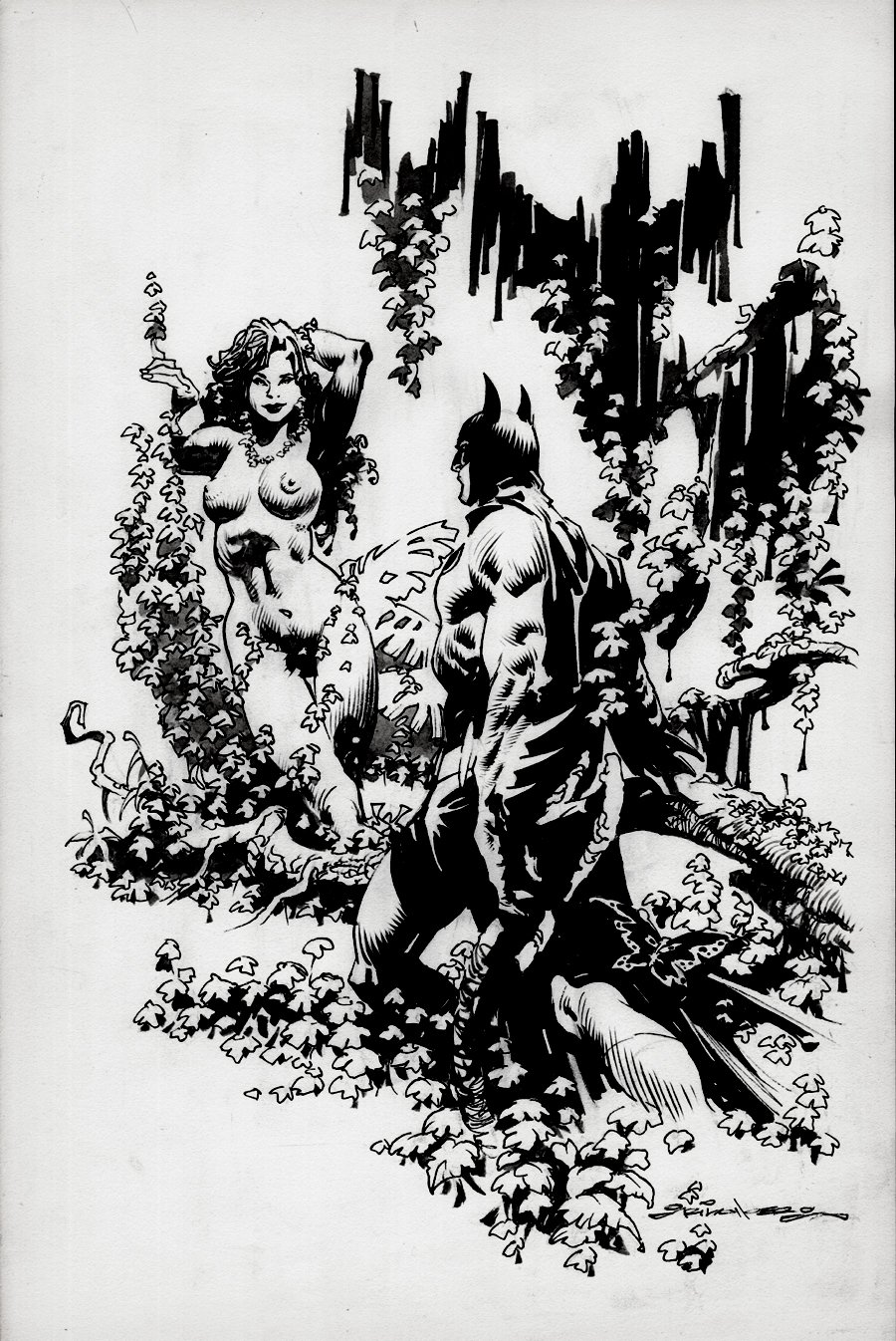 Batman and Nude Poison Ivy Pinup