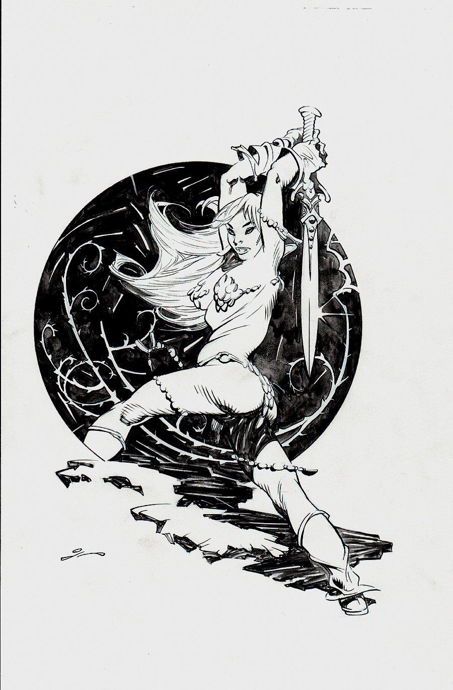 Red Sonja Swinging Sword Pinup