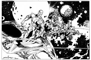 Silver Surfer / Galactus Pinup (2007) Comic Art