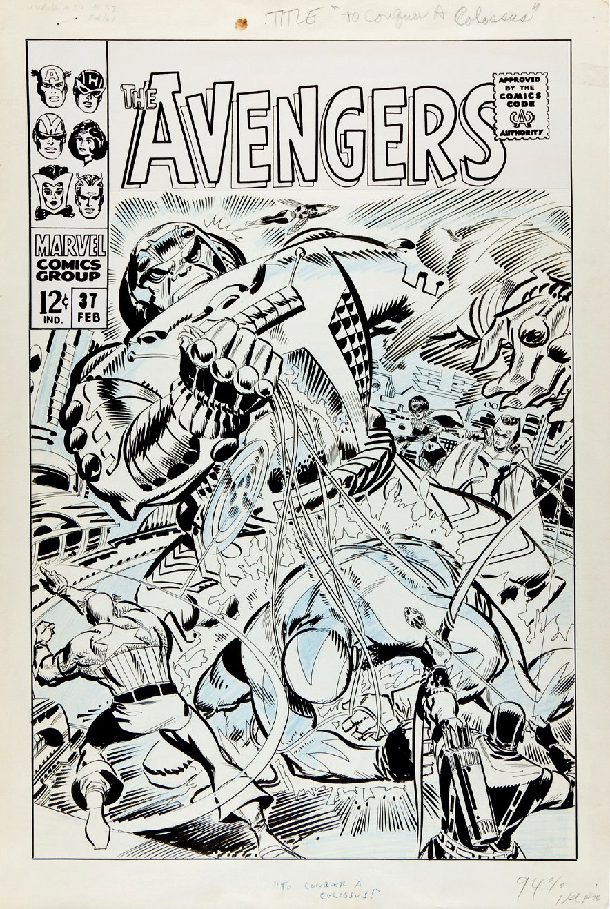Avengers #37 Unpublished Fully Finished Cover (Large Art) 1967