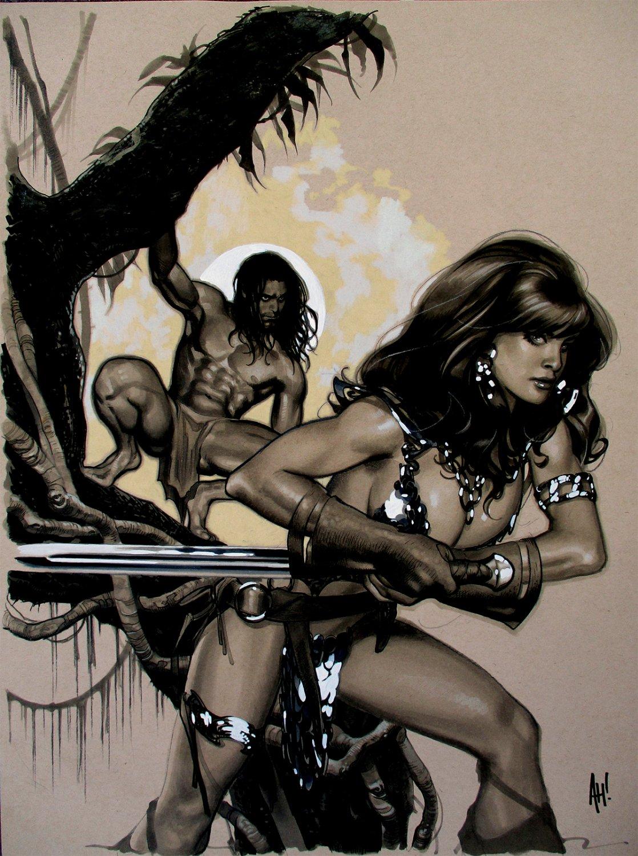 Red Sonja  / Tarzan #1 Cover Painting (HUGE)