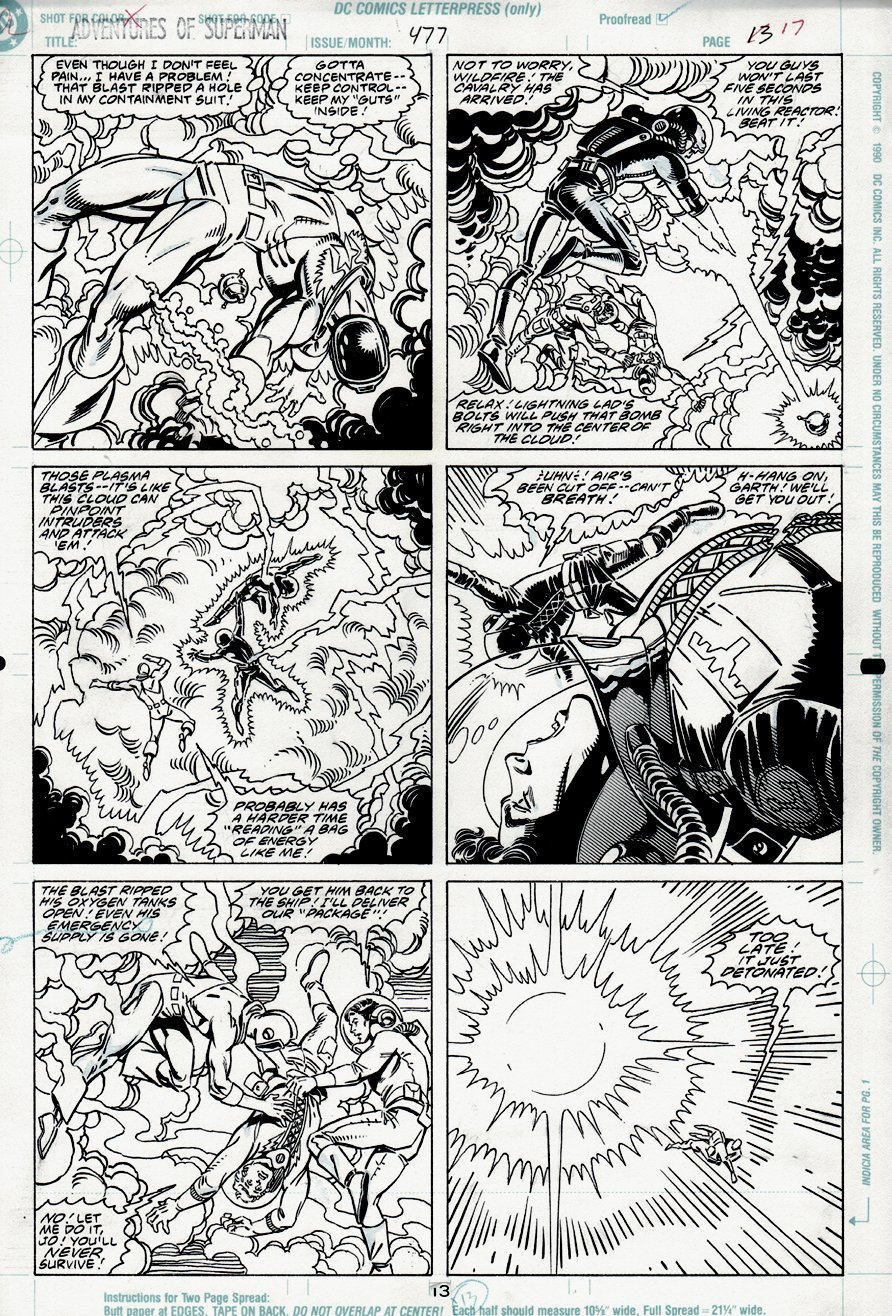 Adventures of Superman #477 p 13 (LEGION OF SUPERHEROES BATTLE) 1991