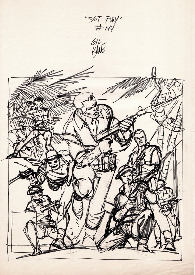Sgt. Fury and His Howling Commandos #144 Full Size Cover Prelim (1977)