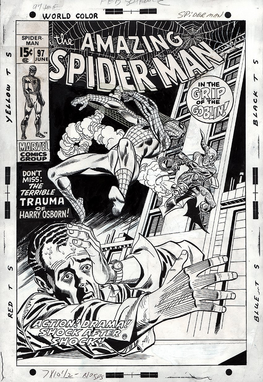 Amazing Spider-Man #97 Unused Cover (1971).