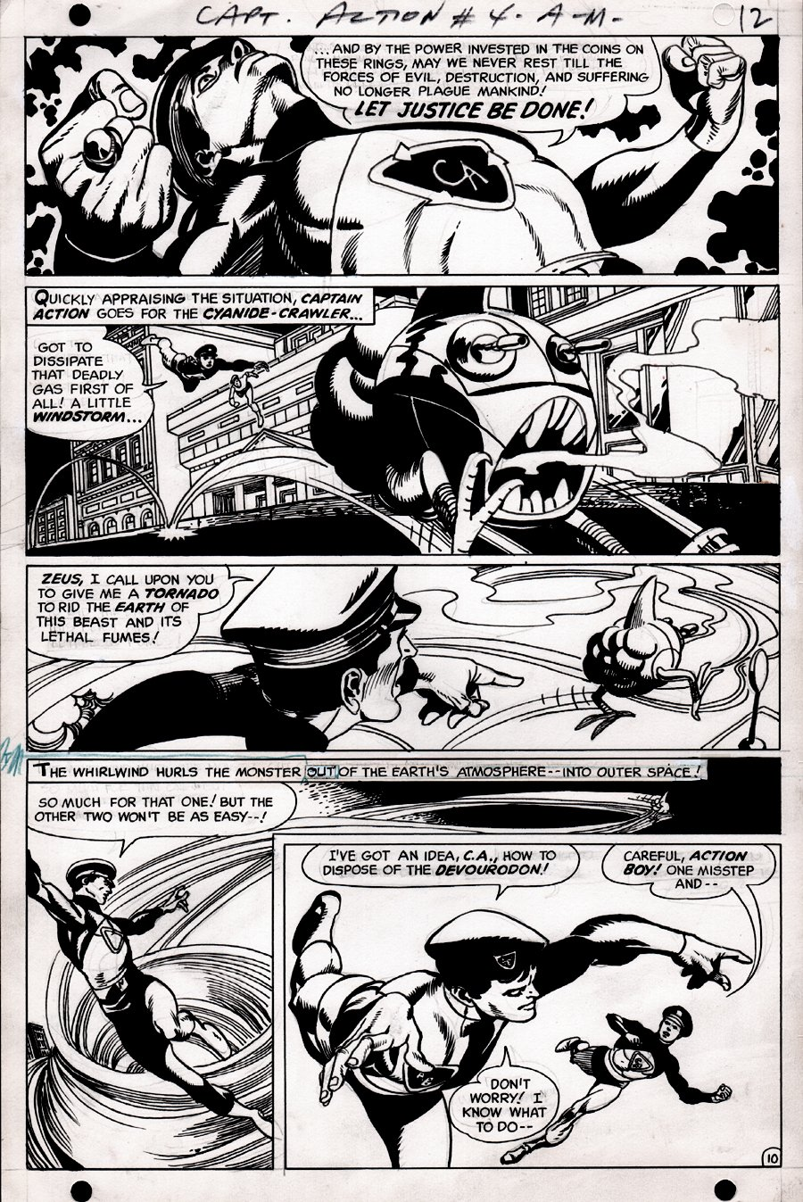 Captain Action #4 p 10 (OUR HERO IN EVERY PANEL!) 1968