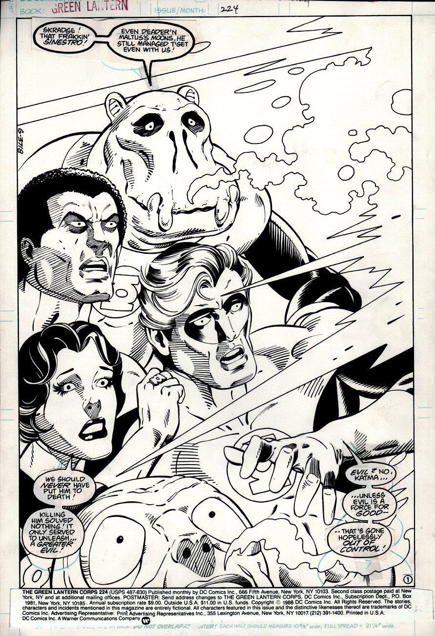 Green Lantern Corps #224 p 1 SPLASH (1988)