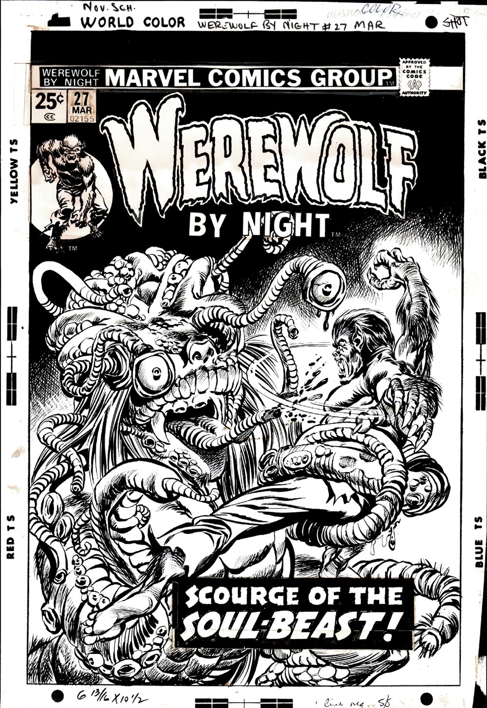 Werewolf by Night #27 Cover (1 OF THE BEST WEREWOLF BATTLE COVERS EVER BY KANE!) 1974