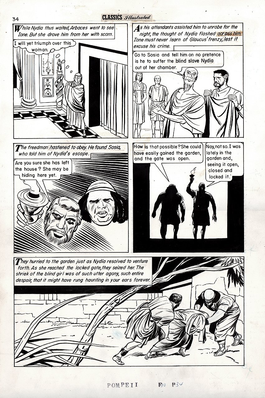 Classics Illustrated #35 'Last Days of Pompeii' p 34 (Large Art) 1961