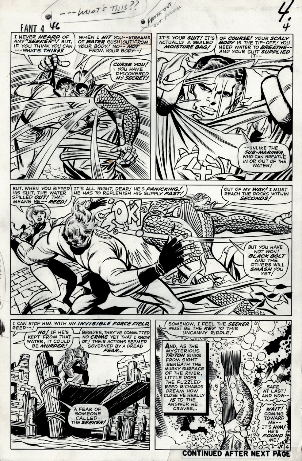 Fantastic Four #46 p 4 (VERY FIRST FULL TRITON APPEARANCE PAGE!) Large Art 1965