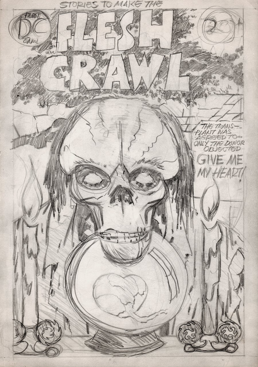 Stories To Make The FLESH CRAWL #1 Unpublished Penciled D.C. Cover (1972-1973)