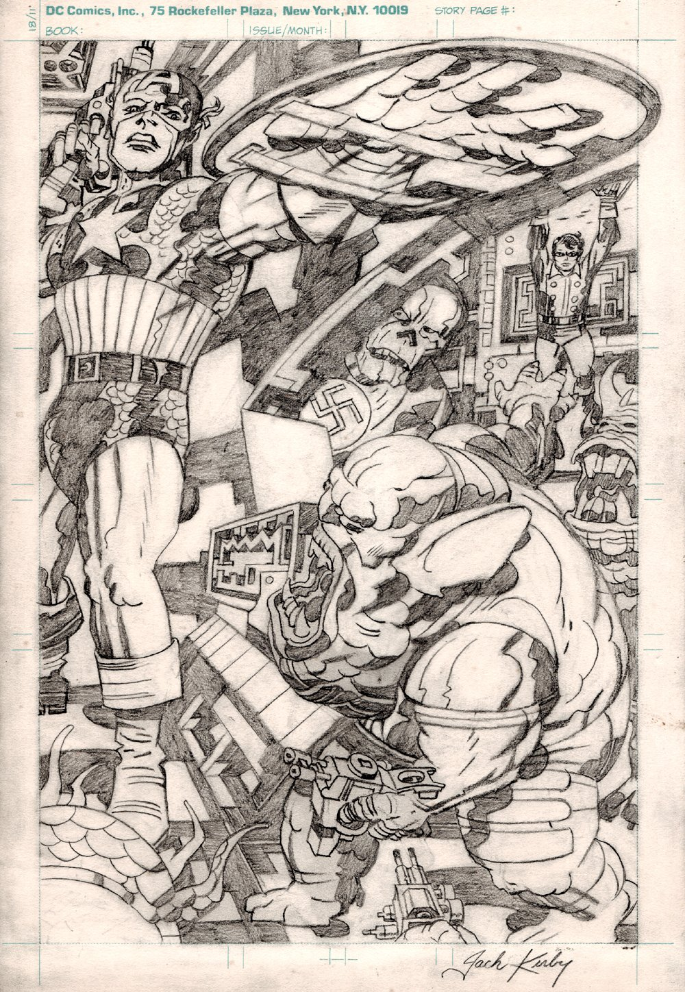 Jack Kirby Collector #3 Back Cover (Captain America, Bucky, Red Skull Wearing Donald Trump Shirt Also!) 1970s