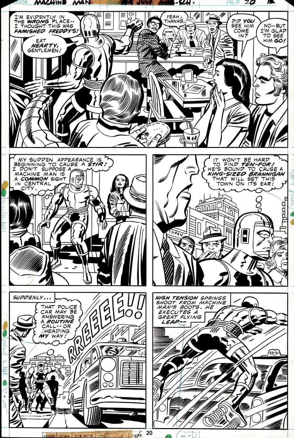 Machine Man #4 p 20 (MACHINE MAN IN EVERY PANEL!) 1978