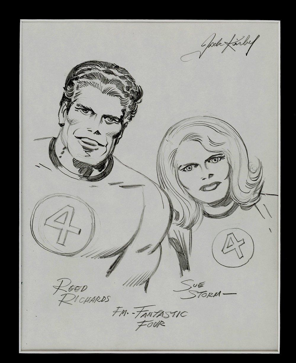 Mr Fantastic & Invisible Girl Pinup Published In Famed 'Heroes & Villains' Sketchbook (Early 1970's)
