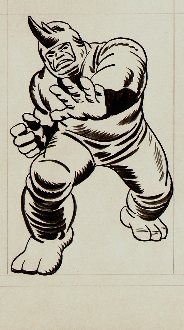 Jack Kirby Marvelmania Unpublished Rhino Back Cover Illustration (1968)