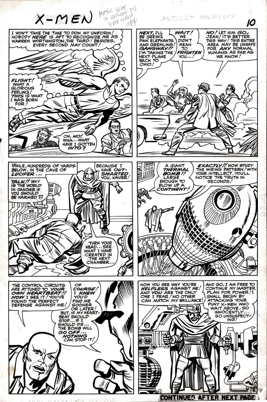 X-Men #9 p 8 (FIRST LUCIFER! ANGEL, PROFESSOR X!) Large Art -1964