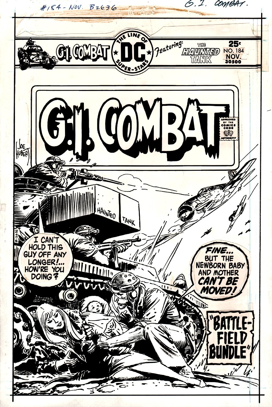 G.I. Combat #184 Cover (THE HAUNTED TANK!) 1975