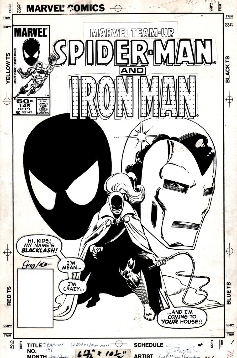 Marvel Team-Up #145 Cover (VERY EARLY BLACK COSTUME SPIDER-MAN!) 1984